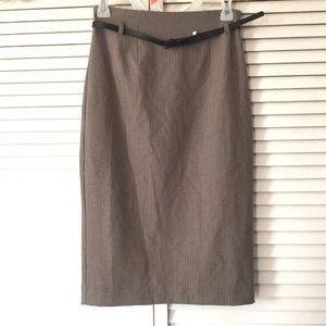 NWT Express women's brown pencil skirt with belt